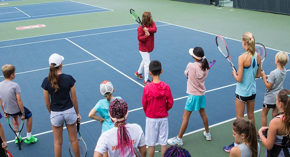 buy online 89ac2 f0d9f ... Lele Forood Instructing Campers Tennis Camp Stanford ...